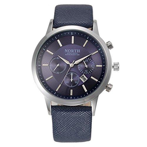 FEITONG NORTH Sport Luxuxmens echtes Leder Band analoge Quarz Uhren Armbanduhr Blau