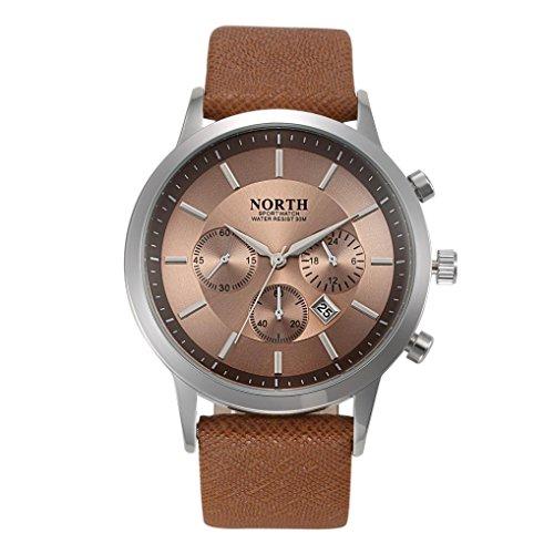 FEITONG NORTH Sport Luxuxmens echtes Leder Band analoge Quarz Uhren Armbanduhr Gold