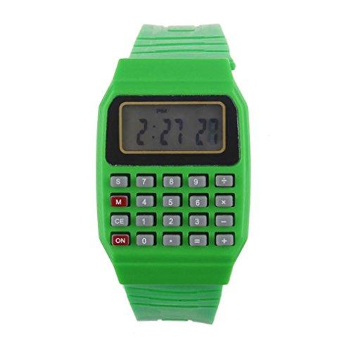 FEITONG Unisex Silikon Multifunktions Datum Elektronische Handgelenk Taschenrechner Uhr Gruen