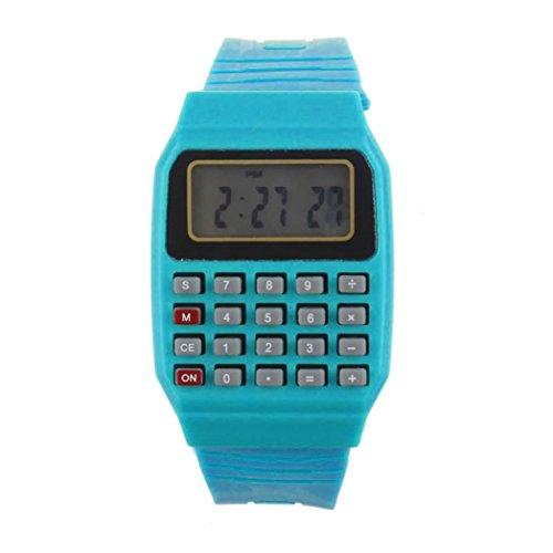 FEITONG Unisex Silikon Multifunktions Datum Elektronische Handgelenk Taschenrechner Uhr Blau
