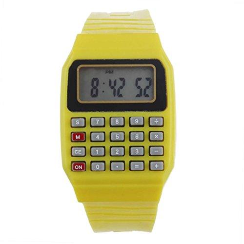 FEITONG Unisex Silikon Multifunktions Datum Elektronische Handgelenk Taschenrechner Uhr Gelb