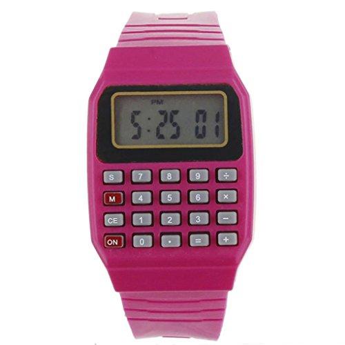 FEITONG Unisex Silikon Multifunktions Datum Elektronische Handgelenk Taschenrechner Uhr Rot