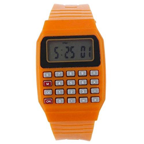 FEITONG Unisex Silikon Multifunktions Datum Elektronische Handgelenk Taschenrechner Uhr Orange
