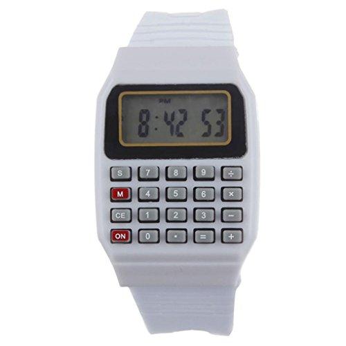 FEITONG Unisex Silikon Multifunktions Datum Elektronische Handgelenk Taschenrechner Uhr Weiss