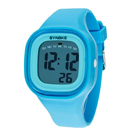FEITONG Silikon LED Digital Sport Blau Armbanduhr fuer Kind Frauen Maedchen Mann Jungen