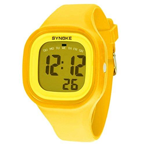 FEITONG Silikon LED Digital Sport Gelb Armbanduhr fuer Kind Frauen Maedchen Mann Jungen