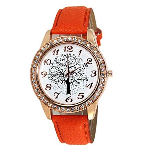 FEITONG Damen Art und Weise Weihnachtsbaum Diamant weibliche Art Uhr Orange