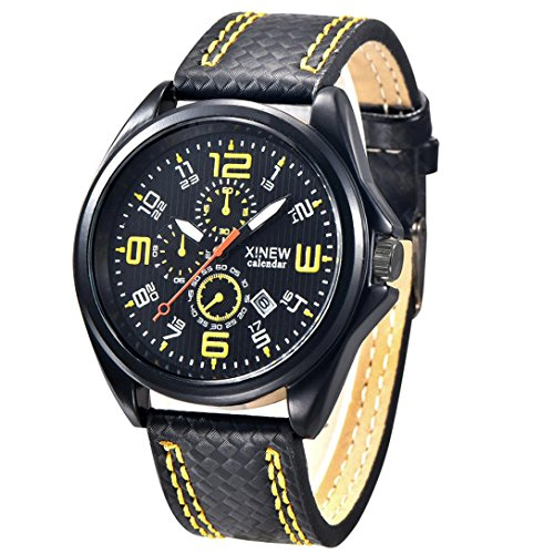 FEITONG Art und Weisemaenner Uhr Militaersport Analoge Quarz Datum Armbanduhr Gelb