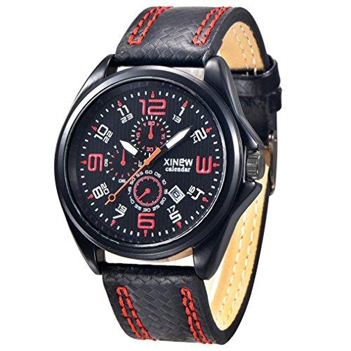 FEITONG Art und Weisemaenner Uhr Militaersport Analoge Quarz Datum Armbanduhr Rot