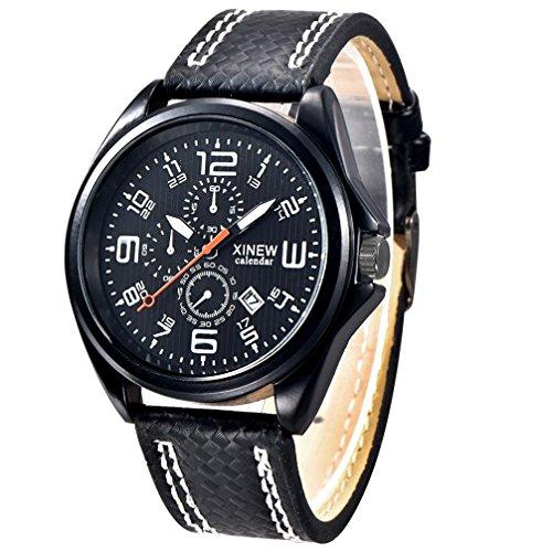 FEITONG Art und Weisemaenner Uhr Militaersport Analoge Quarz Datum Armbanduhr Weiss