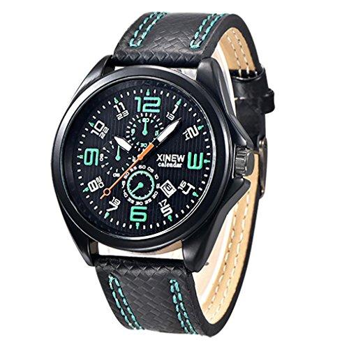 FEITONG Art und Weisemaenner Uhr Militaersport Analoge Quarz Datum Armbanduhr Gruen