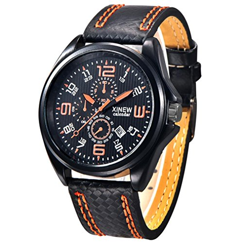 FEITONG Art und Weisemaenner Uhr Militaersport Analoge Quarz Datum Armbanduhr Orange