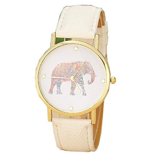 Xinan Frauen Elephant Pattern spann lederne Quarz Zifferblatt