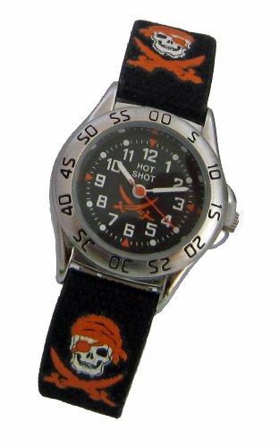 Hot Shot Jungen Armbanduhr Analog Quarz Pirat Schwarz Orange 0957 6