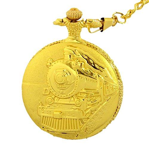 Taschenuhr zu Motiv Zug Lokomotive Farbe Gold glaenzend