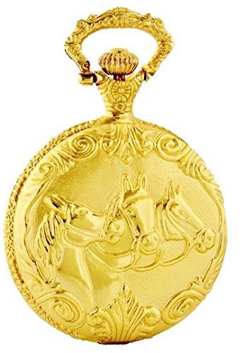 Taschenuhr zu Motiv Pferde 3 Scherkoepfe Farbe Gold glaenzend