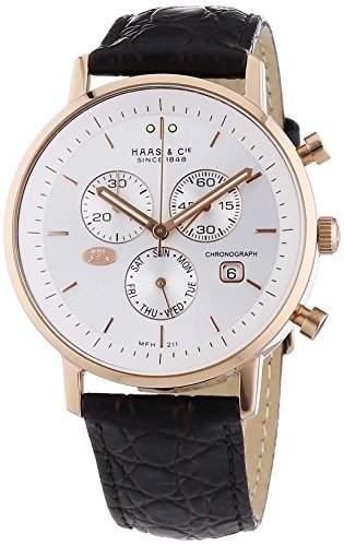 Haas & Cie Herren-Armbanduhr Vitesse Chronograph Quarz Leder MFH211RSA