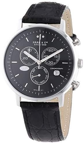 Haas & Cie Herren-Armbanduhr Vitesse Chronograph Quarz Leder MFH211ZBA