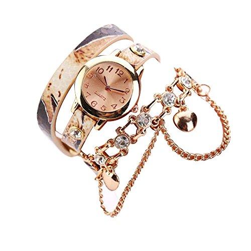 Sunnywill Neue Mode Leder Strass Nieten Kette Armband Armbanduhr Quarzuhr fuer Frauen Maedchen Damen