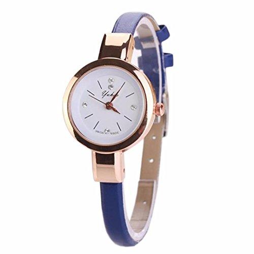 Sunnywill Damen Duenn Schmal PU Band Fashion Armbanduhr Blau