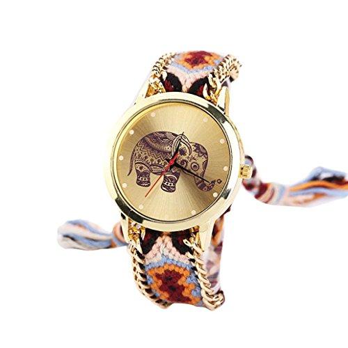 Sunnywill Frauen Elefant Muster eingewoben Seil Band Armband Quarz Zifferblatt Armbanduhr Orange