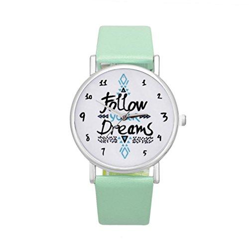 Sunnywill Neue Folgen Sie Ihrer Traeume Worte Muster Leder Armbanduhr Mintgruen fuer Frauen Maedchen Damen