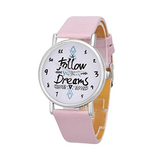 Sunnywill Frauen Alphabet Muster PU Leder Armbanduhr Pink