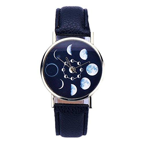 Sunnywill Frauen Lunar Eclipse Muster Leder Analog Quarz Armbanduhr Schwarz