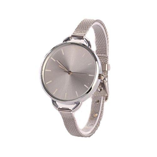 Sunnywill Frauen Analog Mesh Edelstahl Quarz Armband Duenn Armbanduhr Silber