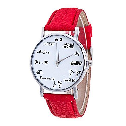 Sunnywill Frauen Maedchen Damen Schoene Mathematik Muster Leder Band Analog Quarz Mode Uhren fuer Weibliche