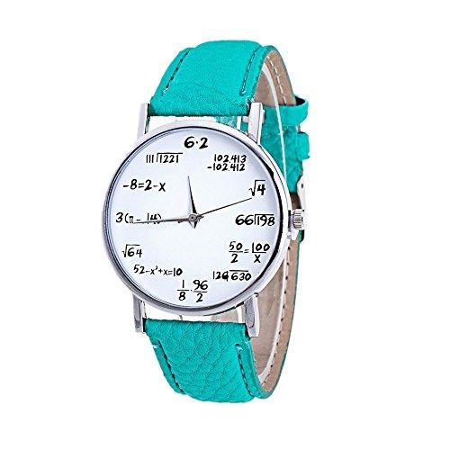 Sunnywill Frauen Maedchen Damen Schoene Mode Design Mathematik Muster PU Leder Band Analog Quarz Uhren fuer Weibliche
