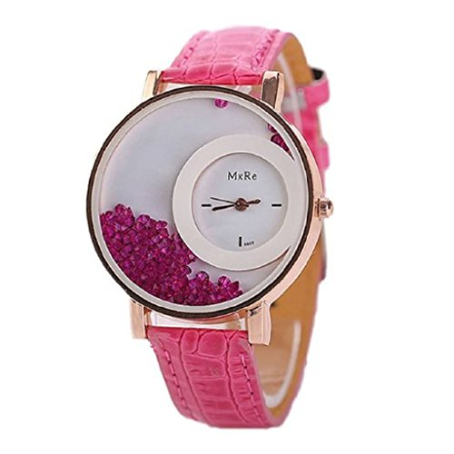 Sunnywill Frauen Leder Treibsand Strass Quarz Armband Armbanduhr Hot Pink