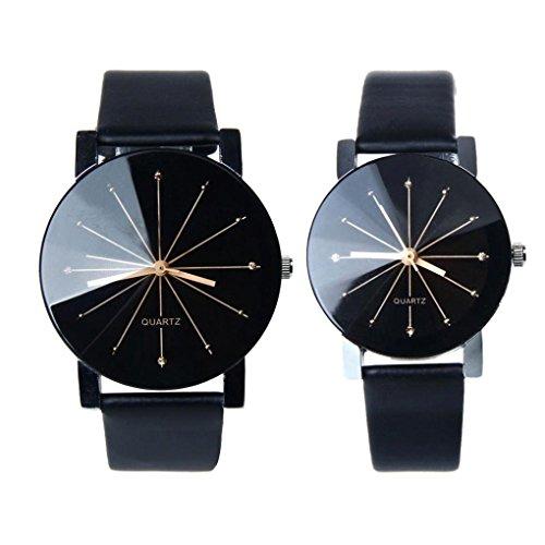 Sunnywill 1 paar Herren und Frauen Quarz Zifferblatt Uhr Leder Armbanduhr fuer verliebte Paare