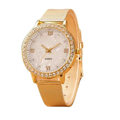 Sunnywill Classy Frauen Kristall roemischen Ziffern Gold Mesh Band Armbanduhr