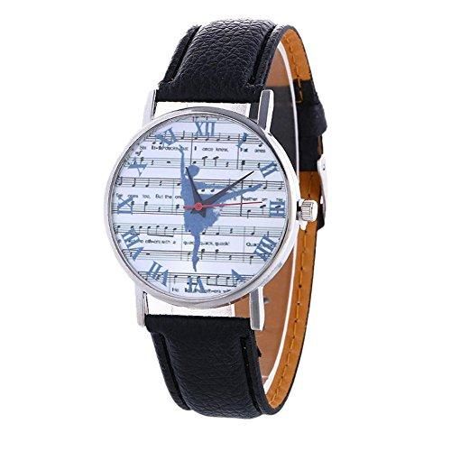 Sunnywill Frauen Maedchen Damen Schoene Mode Design Farbige Musik Spektrum PU Leder Armbanduhr fuer Weibliche