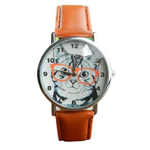 Sunnywill Neue Mode Katze Muster Leder Band Analog Quarz Vogue Armbanduhr fuer Frauen Maedchen Damen