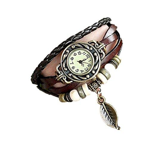 Sunnywill Vintage Uhren Armband Armbanduhren Blatt Anhaenger fuer Frauen Maedchen Damen