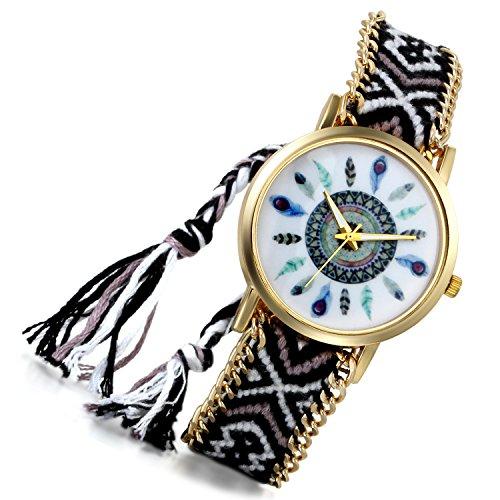 lancardo indischen Vintage Verstellbarer gewebter Schulterriemen Armband Armbanduhr Adler Wappen Feder Gold Ton Zifferblatt C