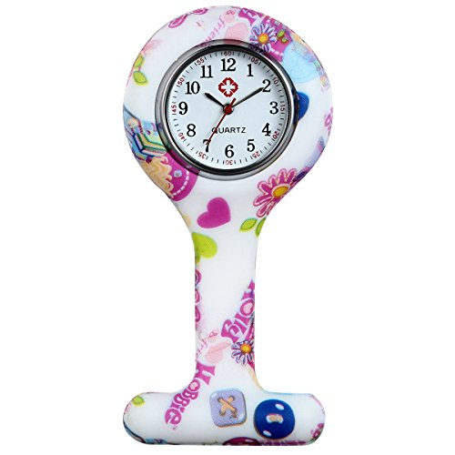 ancardo Uhren Krankenschwester Armbanduhr FOB Uhr Damen Taschenuhr Analog Quarzuhr aus Silikon rosa Mehrfarbig