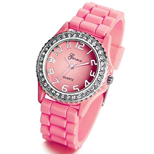 lancardo Silikon Keramik Stil pink Armbanduhr Silber Trim und glitzernde Strass Surround fuer Jugendliche