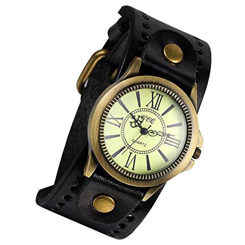 Lancardo Retro Herren Analog Quarz Uhr Armbanduhr Einzeigeruhr breit Leder Armband mit roemische Ziffern schwarz