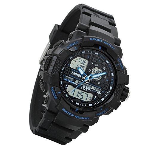 Lancardo Dual Zeitzone 50M wasserdicht Studenten Sport Digital Quarz Uhr mit Datum Alarm Stoppuhr Chronograph blau