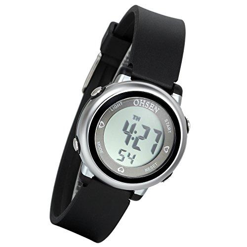 Lancardo 50M wasserdicht Studenten Sport Digital Uhr Datum Alarm Stoppuhr Chronograph schwarz