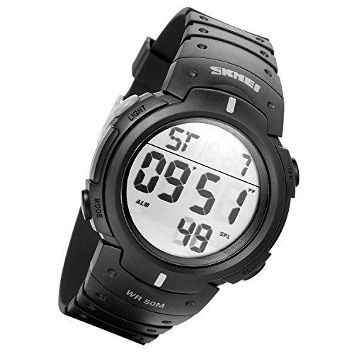 Lancardo Kinder Armbanduhr 50M wasserdicht Studenten Sport LED Digital Quarz Uhr mit Datum Alarm Stoppuhr LED silber