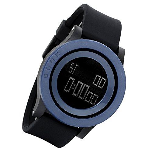 Lancardo Kinder Armbanduhr wasserdicht Studenten Sport Digital Uhr mit Grosse Zifferblatt Datum Alarm Stoppuhr Chronograph candy Farben blau
