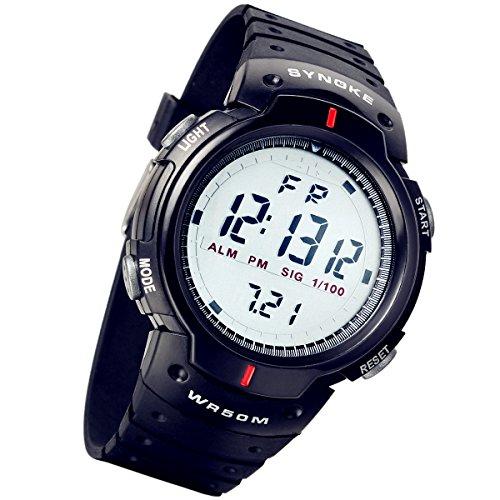 Lancardo Kinder Armbanduhr wasserdicht Studenten Sport Digital Uhr mit Grosse Zifferblatt Datum Alarm Stoppuhr Chronograph schwarz