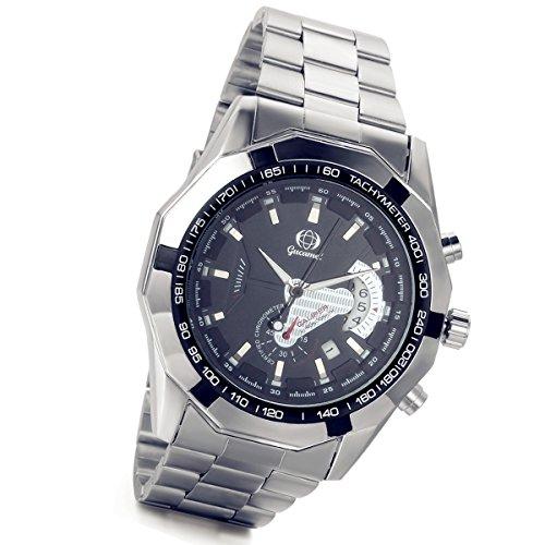 Lancardo Automatische Mechanische Armbanduhr fuer Herren mit durchsichtiger Rueckseite