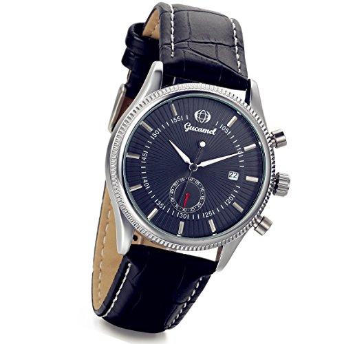 lancardo Business Casual Mechanische Mann Uhr mit Schwarz Leder Band und Kalender