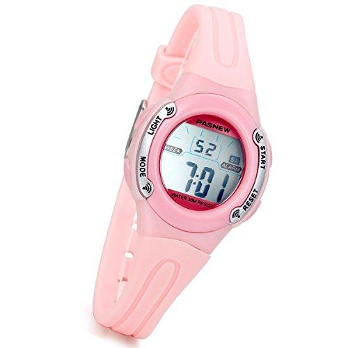 lancardo Digital Chronograph Alarm Datum Ovale Form Harz Gurt Uhr mit Hintergrundbeleuchtung Pink