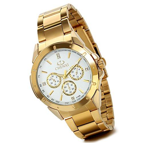 lancardo Herren s Luxus Pure Bright Gold Ton Edelstahl Armbanduhr mit 3 sub dial weiss Zifferblatt 2